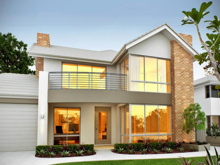 Architecture Modern Two Story Luxury Home Plan With Minimalist Design And  Brick Wall Accent At Exterior