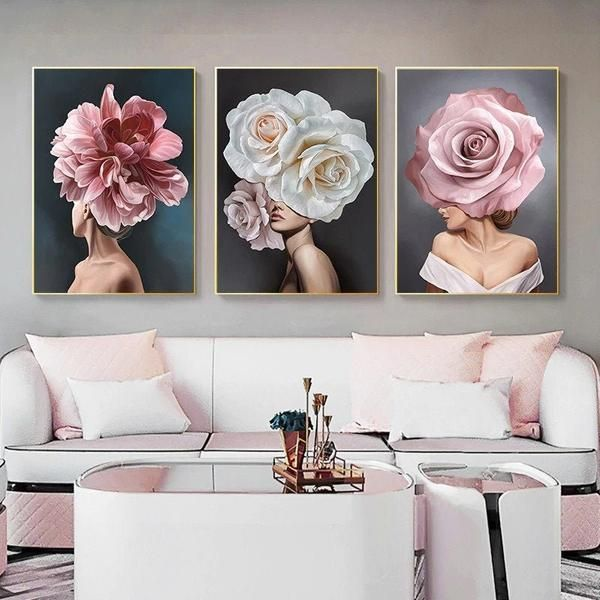 Pink White Flower Lady Poster Personality Fashion Abstract Etsy Flower Wall Art Living Room Decor Modern Poster Wall Art