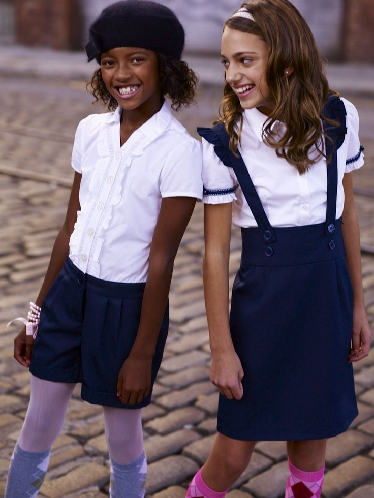 if the school allows, colorful socks add color to a school uniform!