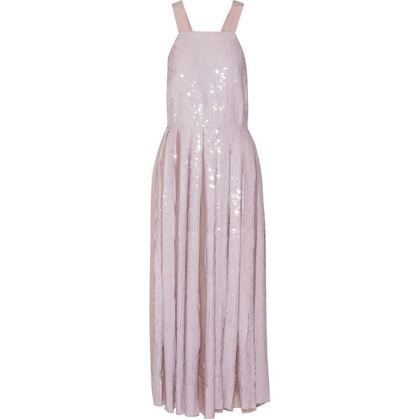 Tibi Éclair pleated sequined silk-georgette maxi dress ($990) ❤ liked on Polyvore featuring dresses, tibi, long dress, pastel pink, sequin maxi dress, pastel dresses, sequined dresses, maxi dresses and pink sequin cocktail dress