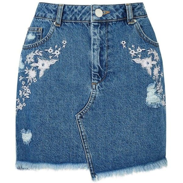 Miss Selfridge PETITE Embroidered Skirt (3.930 RUB) ❤ liked on Polyvore featuring skirts, denim, petite, embroidered skirt, miss selfridge, petite skirts, miss selfridge skirts and blue skirt