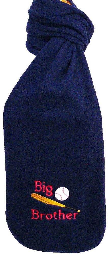 Big Brother Baseball Sports Ball & Bat Monogram Scarf Navy Warm Winter Fleece #PortAuthority #Scarf