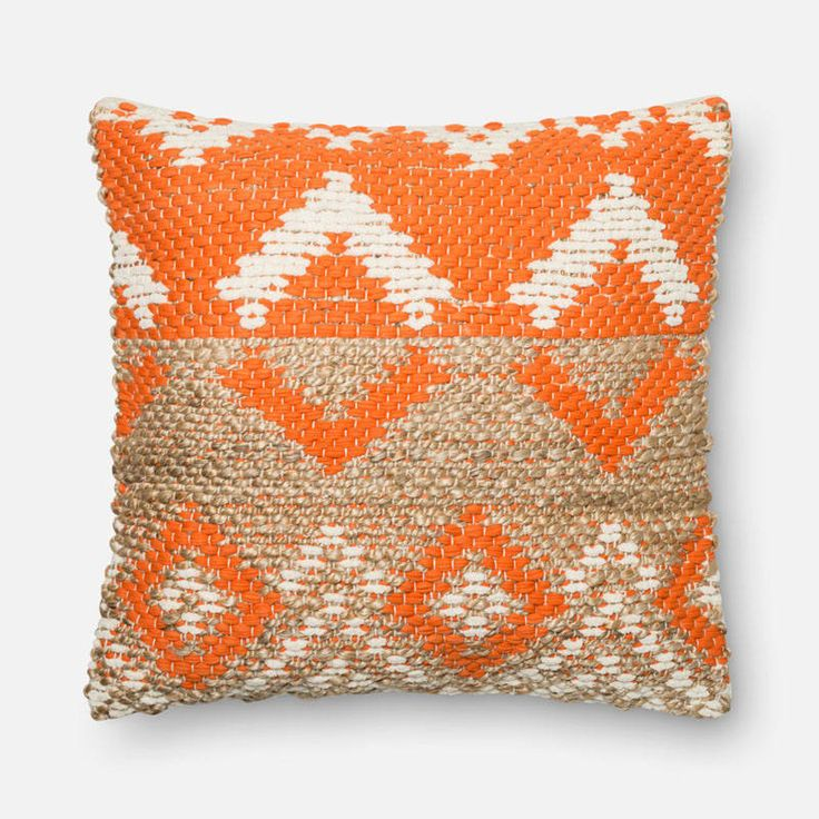 Loloi Rugs P0334 Orange and Beige Orange and Beige Pillow with Jute and Cotton C