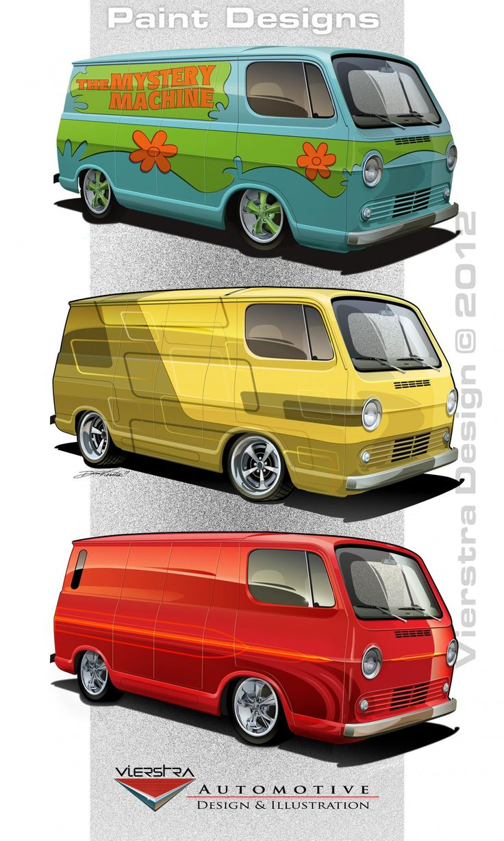 A few paint schemes for a '64 Chevy panel Van.     vierstradesign.com ©