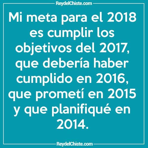 Mi meta para el 2018 es cumplir los objetivos del 2017 que debería haber cumplido en 2016 que prometí en 2015 y que planifiqué en 2014.