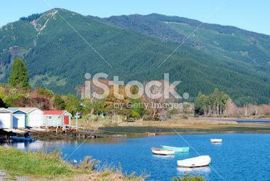 Boathouses on the Marlborough Sounds, New Zealand Royalty Free Stock Photo