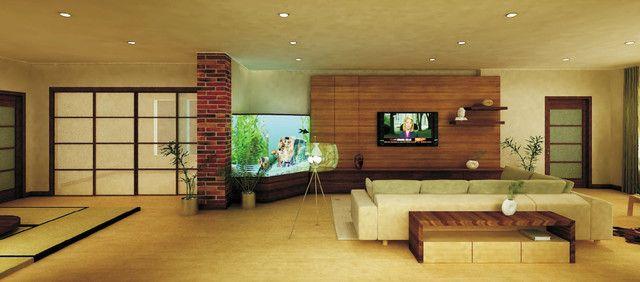 Fireplace, Sofa & Table Arrangement Idea in Tropical Living Room -  Fireplace, Aquarium,  Shoji Screen,  Living Room &  Yoga Space