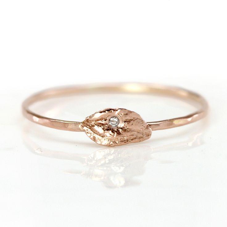 Diamond Leaf Ring in 14k Rose Gold