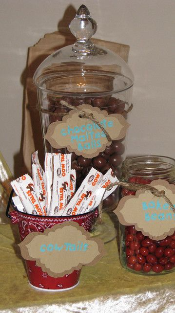 Western Candy Ideas. I love the bandana print container.