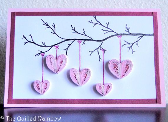 Handmade Mothers Day Card, Quilled Hanging Hearts, Hearts Hanging from a Branch, Valentines Day Card, Birthday Card, Anniversary Card