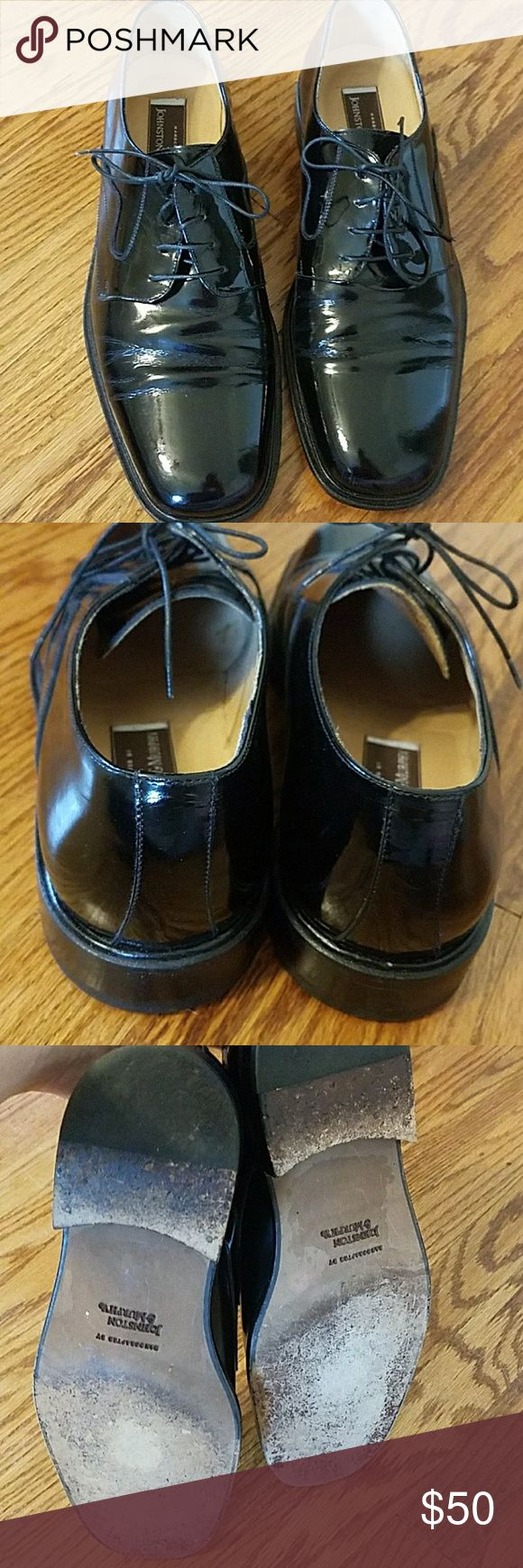 Johnson and Murphy Black Patent Shoes Size 10 1/2 Johnson and Murphy Black Patent Shoes Size 10 1/2 Made in Italy Great Condition Johnston & Murphy Shoes Oxfords & Derbys