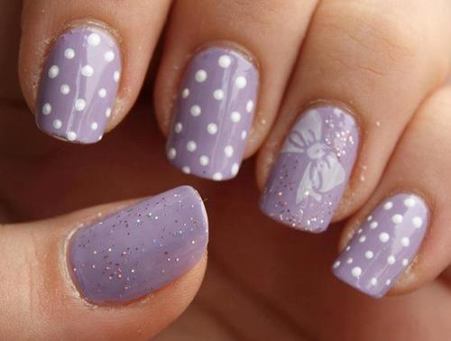 purple polka-dots: Nails Art, Nailart, Fingernail Design, Bows Nails, Pretty Nails, Polka Dots Nails, Glitter Nails, Purple Nails, Lilacs Nails