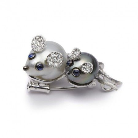 Looking for something different for Mother's Day. Then this beautiful and unique Mice Baroque Pearl 18ct White Gold Brooch might just be the ideal present. A rare piece made skillfully from South Sea and Tahitian Pearls, blue Sapphires and white Diamonds.