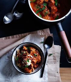 Paprika beef meatballs with sour cream and crisp onion :: Gourmet Traveller Magazine Mobile