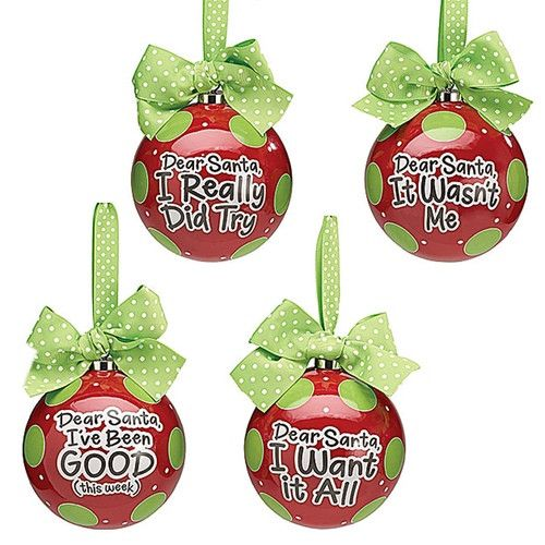 "201-9720192 Dear Santa Message Ornaments 5.5"" - Sold Separately"