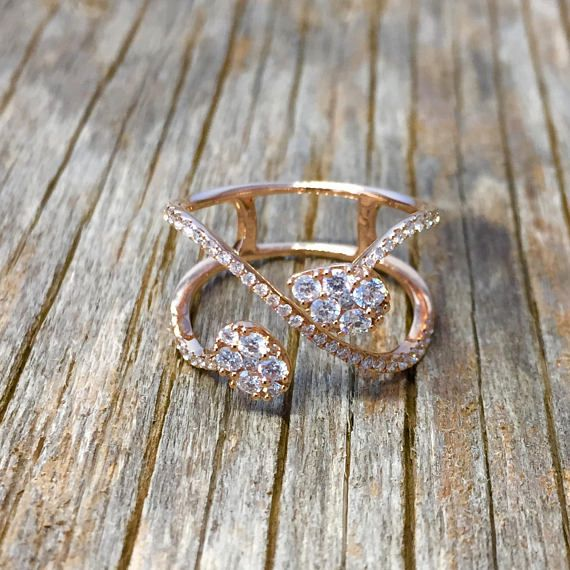 infinity ring gold, Double diamond ring, Diamond #jewelry #ring @EtsyMktgTool http://etsy.me/2C5AphR #infinityringgold #doublediamondring