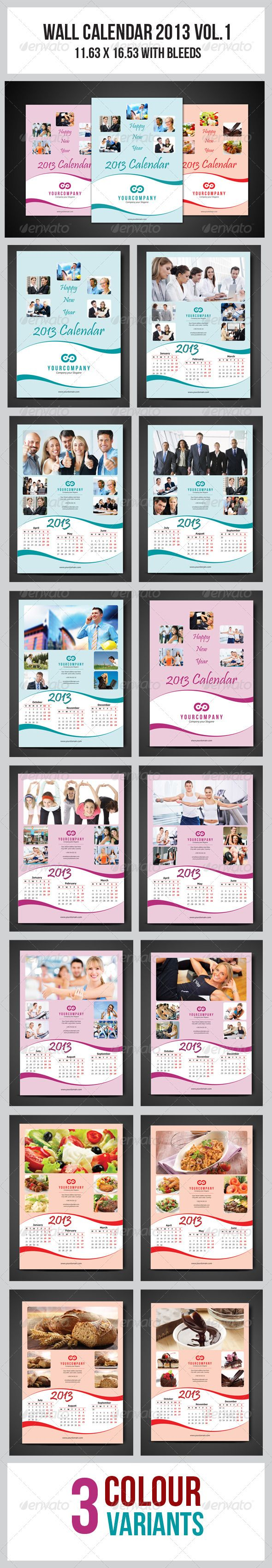 Wall Calendar 2013 Vol.1  #GraphicRiver         This simple and generic flyer template perfectly use for multipurpose businesses. Easily edit to fit your needs.