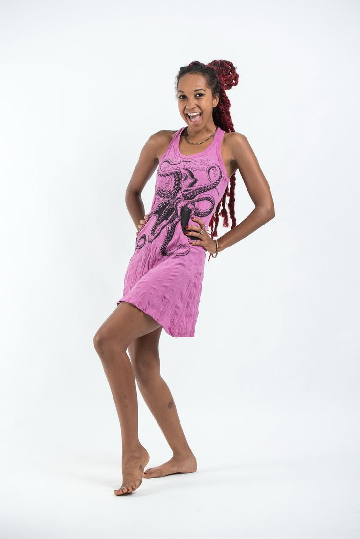 Sure Design Womens Octopus Tank Dress Pink