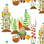 A gnome without his gardening tools isn't home without his shovel, pitchfork, hoe, spade, rake, shears, trowel, watering can, basket, bees,and birds to sow the seeds - vo_aka_virginiao - Spoonflower