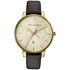 Ladies Ted Baker Paisley Black Leather Strap Watch