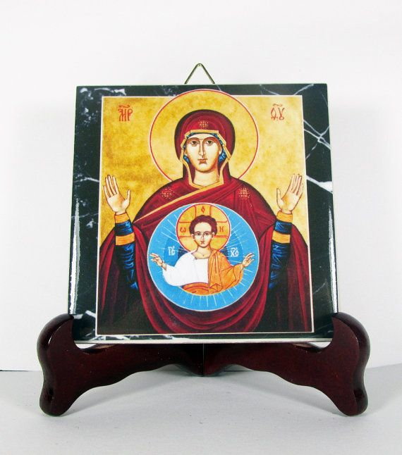 #Theotokos - #christian icon on tile - Virgin Mary - Our Lady of the Sign - #orthodox art - tile art