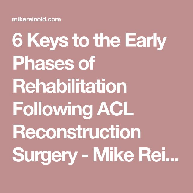 6 Keys to the Early Phases of Rehabilitation Following ACL Reconstruction Surgery - Mike Reinold