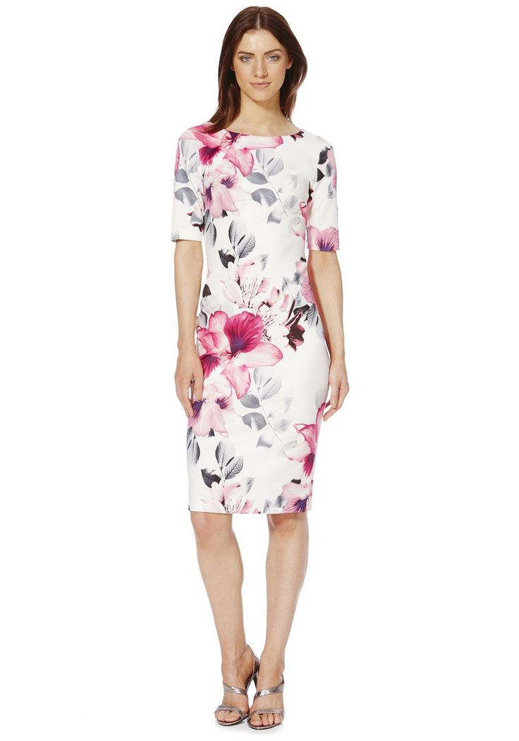 clothing at tesco f f signature floral print scuba dress. Black Bedroom Furniture Sets. Home Design Ideas