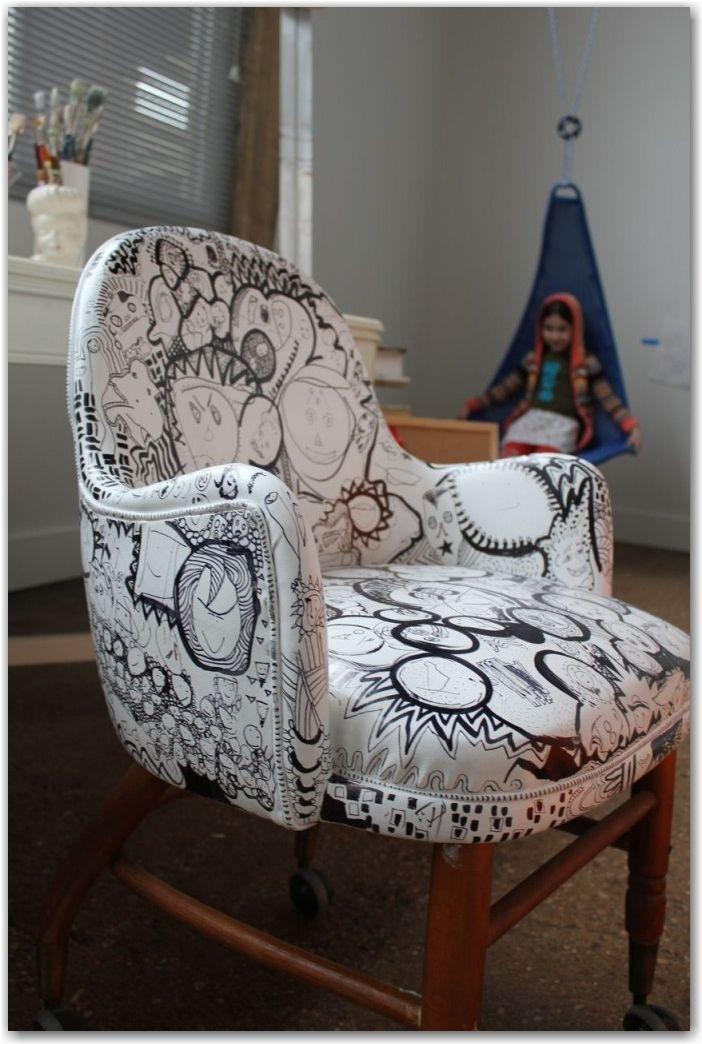 """Chairtastic...upcycle an old vinyl chair with white spray paint, then let the fun of drawing with Sharpie begin...did, done and doing again!  This week's collaborative drawing project at """"Collage Craze"""".  I love the chair that this blogger did with their family."""