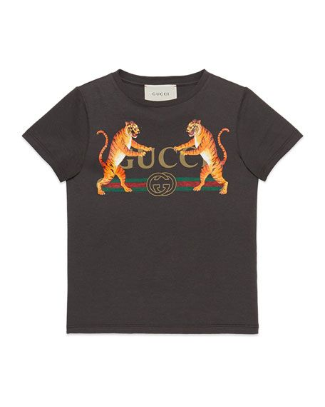 aaf2384b7 Vintage Logo & Tiger-Print Short-Sleeve T-Shirt, Size 4-10 by Gucci at  Neiman Marcus