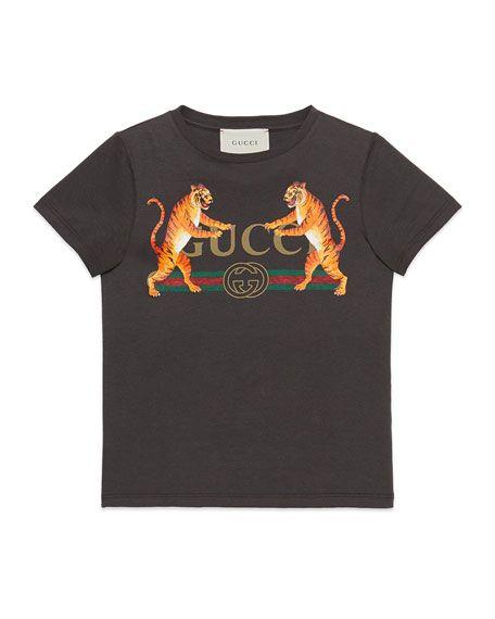 f5e13e7dbd8 Gucci Vintage Logo   Tiger-Print Short-Sleeve T-Shirt