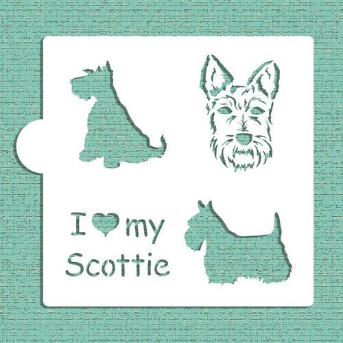 I Love My Scottie Cookie and Craft Stencil by Designer Stencils Designer Stencils