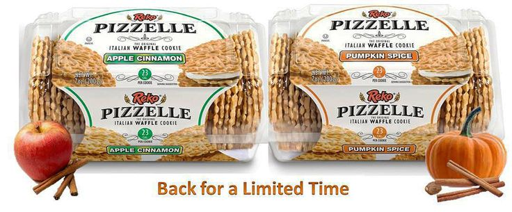 Fall in love with Reko Apple Cinnamon and Pumpkin Spice Pizzelle. Back for a limited time..Buy Now! Repin! #pizzelle #pumpkin #apple #cinnamon #23calories #yummy #snack