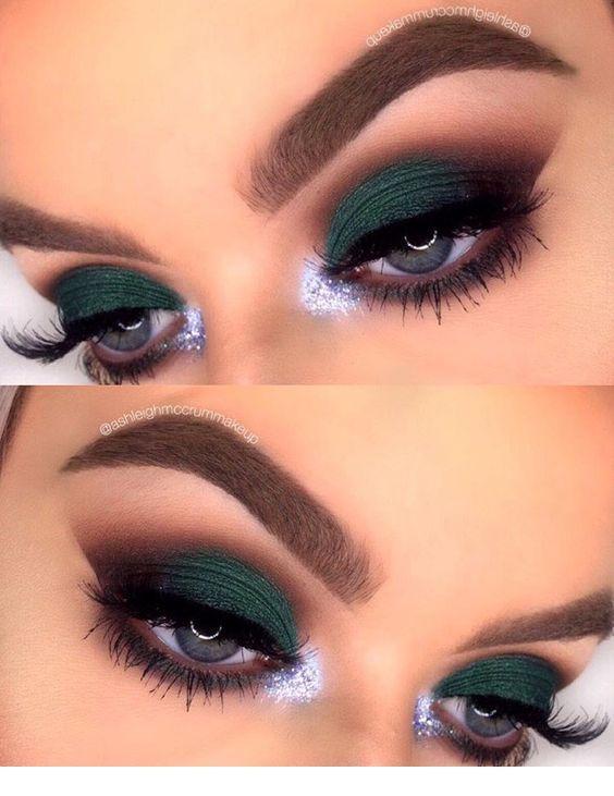 Nice matte green eye makeup