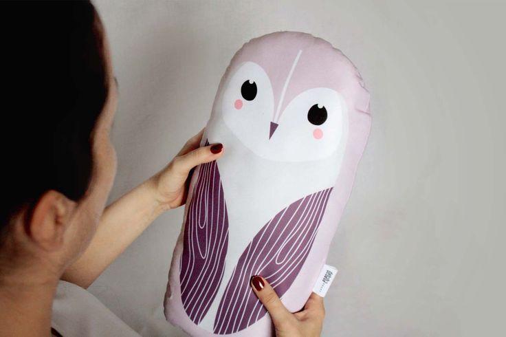 SNOW/BARN OWL big, soft stuffed cushion #cushion #pillow #toy #baby #kidsroom #owl #illustration #design #cute #animal #design #nursery