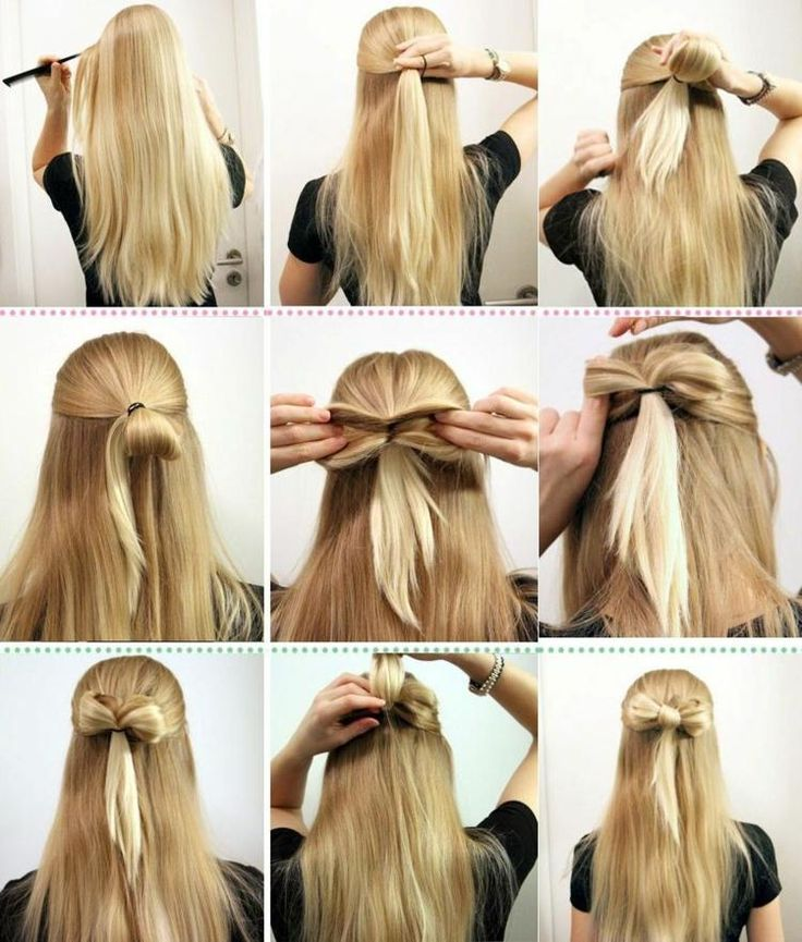 Quick and easy out of your hair a bow for a semi-open hairstyle. – Hairstyles