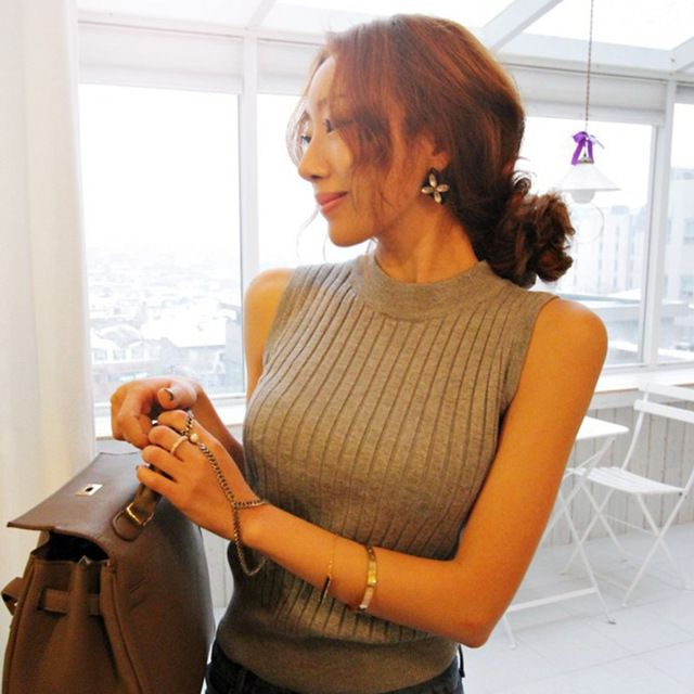 Summer Women Top Clothing Turtleneck Sleeveless T-shirt  Slim Knitted Vest tank Tops Women Short Knitwear #Fashion #Women