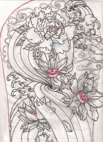 Japanese Tattoo Line Drawing : Japanese sketch for work by oldschooladorned viantart