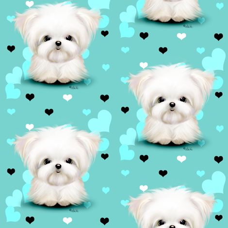 Maltese Aqua blue and  hearts  fabric by catiacho on Spoonflower - custom fabric