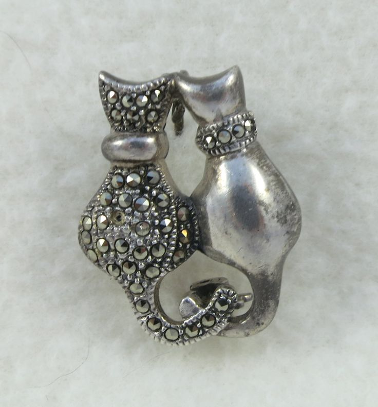 Vintage Sterling Silver Two Cats Sitting Marcasite Brooch ...