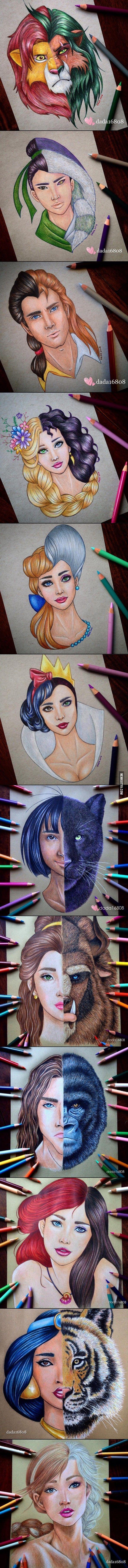 Elképesztő ceruzarajzok egy tehetséges lánytól: Összekevert Disney szereplők