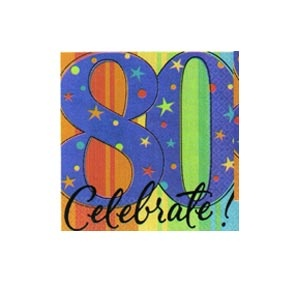 """""""80th"""" Ultra Beverage Napkins (A Year to Celebrate) 16/pkg"""