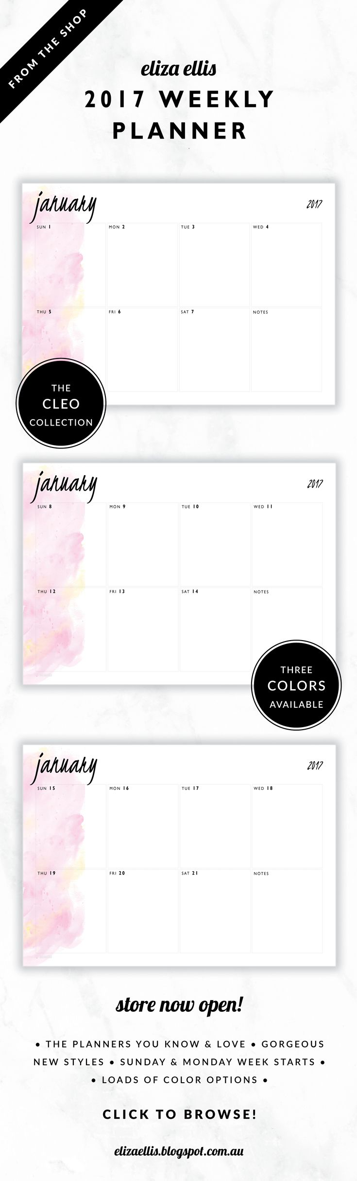 2017 Weekly Planner // The Cleo Collection by Eliza Ellis. Gorgeous watercolor and handwritten type design. Available in 3 colors – fairyfloss, nimbus and sherbet. Monday and Sunday week starts included. Documents print to A4 or A5.