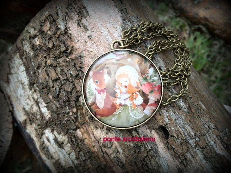 Collana vintage con bellissimo cammeo in vetro/ bronzo/ centrale/ natura/ magia/ animali/ gioiello/ regalo/ paesaggio di PonteArcobaleno su Etsy