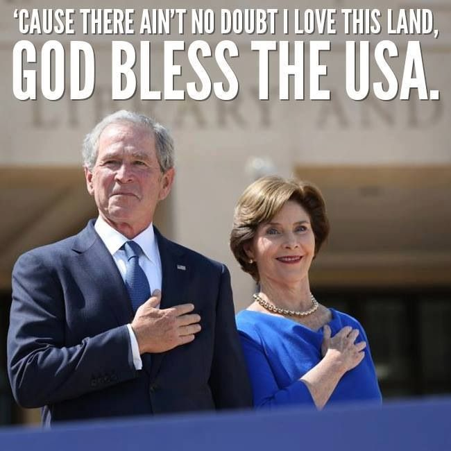 Ex President and Mrs George W Bush - Yes their christian god's blessing has brought so much good over the years - 11/9 , hurricane Katrina, hundreds of Americans killed & maimed in Iraq ect, ect !