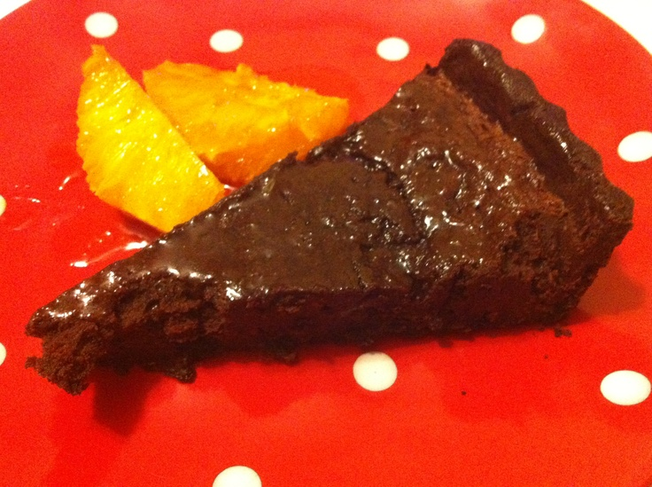 Chocolate mousse tart with orange caramel. Recipe by Mindy Woods on Masterchef Australia.