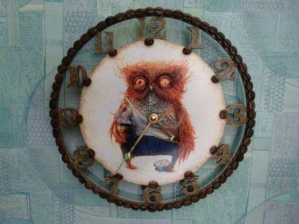 Часы для дома ручной работы. Ярмарка Мастеров - ручная работа Часы настенные с креативной совой. Handmade.