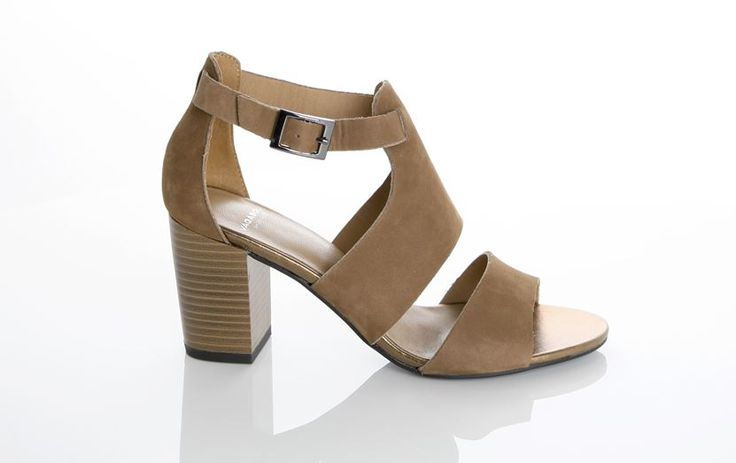 Vagabond - SCARLETT. With   light brown nubuck leather, this feminine sandal features a block heel,   covered heel and an ankle strap.