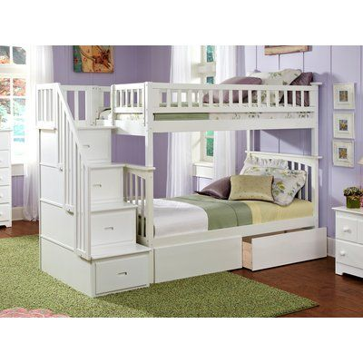Harriet Bee Abel Staircase Twin Over Full Bunk Bed with Drawers Bed Frame Color: White