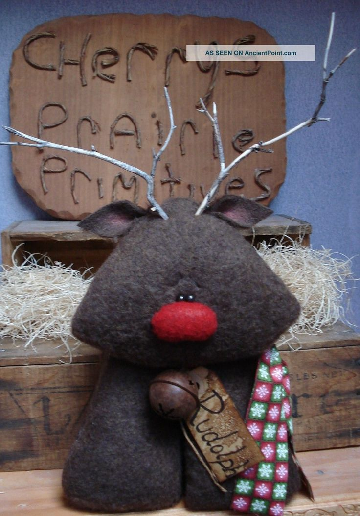 Primitive Christmas Winter Rudolph Reindeer Doll Bowl Fillers Ornies ...