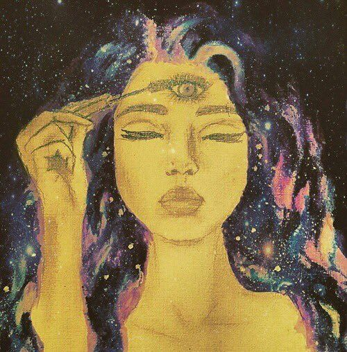 art, girl drawing psychedelic third eye